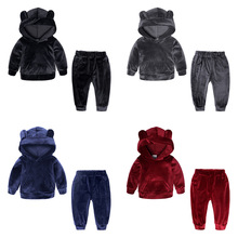 купить 2019 Autumn Winter Baby Girls Boys Clothing Sets Kids Casual Hooded Thicken Velvet Tops Children's Sports Suit Clothes дешево