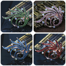 Free shipping special animal design rose gold-color colorful peacock brooches clear crystal charms pins jewelry 56*76mm Y