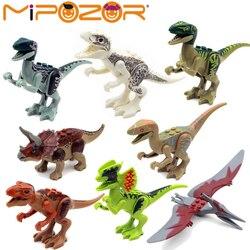 8 unids/set dinosaurios del Mundo Jurásico dinosaurios figuras Jurásico edificio Tyrannosaurus ensamblar bloques clásicos con Legoe juguete para niños