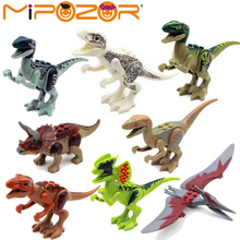 8pcs/set Dinosaurs Jurassic World Dinosaurs Figures Jurassic Building Tyrannosaurus Assemble Blocks Classic with Legoe Kids Toy