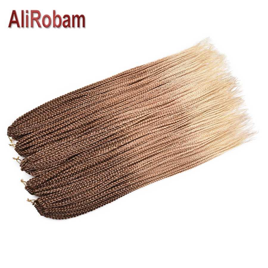 AliRobam маленькая коробка косички крючком волосы синтетические косички из волокна коричневый серый Омбре плетение волос для наращивания 22 корня/упаковка
