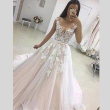 فستان زفاف مزين 2019 Vestidos de Novia تول دانتيل مع حزام فستان عروس بدون أكمام طويل Mariage