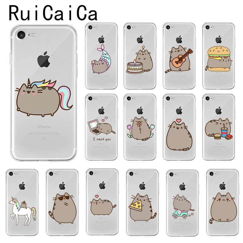 Ruicaica милый мягкий силиконовый чехол для телефона с рисунком кота из мультфильма для iPhone X XS MAX 6 6s 7 7 plus 8 8 Plus 5 5S SE XR 10