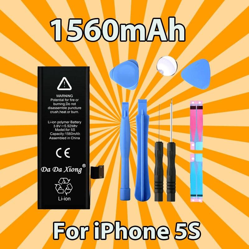 Bateria original da da xiong para o iphone 5c 5S 5gs 1560 mah capacidade real com as baterias de substituição do jogo das máquinas-ferramentas