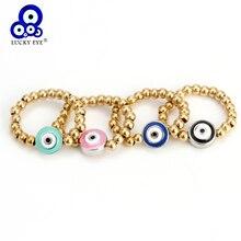 Glück Auge Perlen Einstellbare Runde Ring Gold Farbe Kupfer Perlen Blau Schwarz Evil Eye Anhänger Ring Schmuck für Frauen Weibliche EY6299