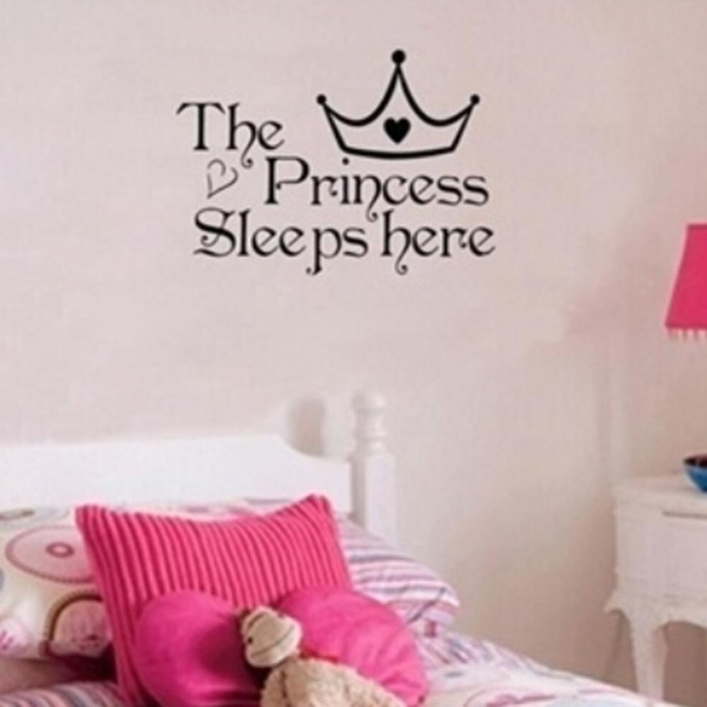 Buckoo the princess wall stickers sleeps here wall decals home buckoo the princess wall stickers sleeps here wall decals home decor wall art quote bedroom wallpaper diy wall sticker lp381 in wall stickers from home amipublicfo Gallery