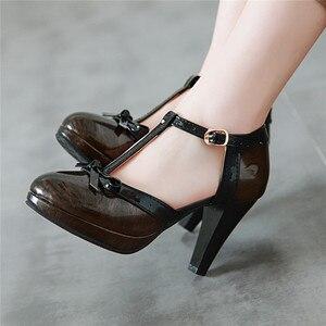 Image 3 - YMECHIC 2019 אופנה פטנט שחור ירוק אדום פלטפורמת ספייק עקבים גבוהים Bowtie המפלגה לוליטה נשים נעלי קיץ משאבות בתוספת גודל