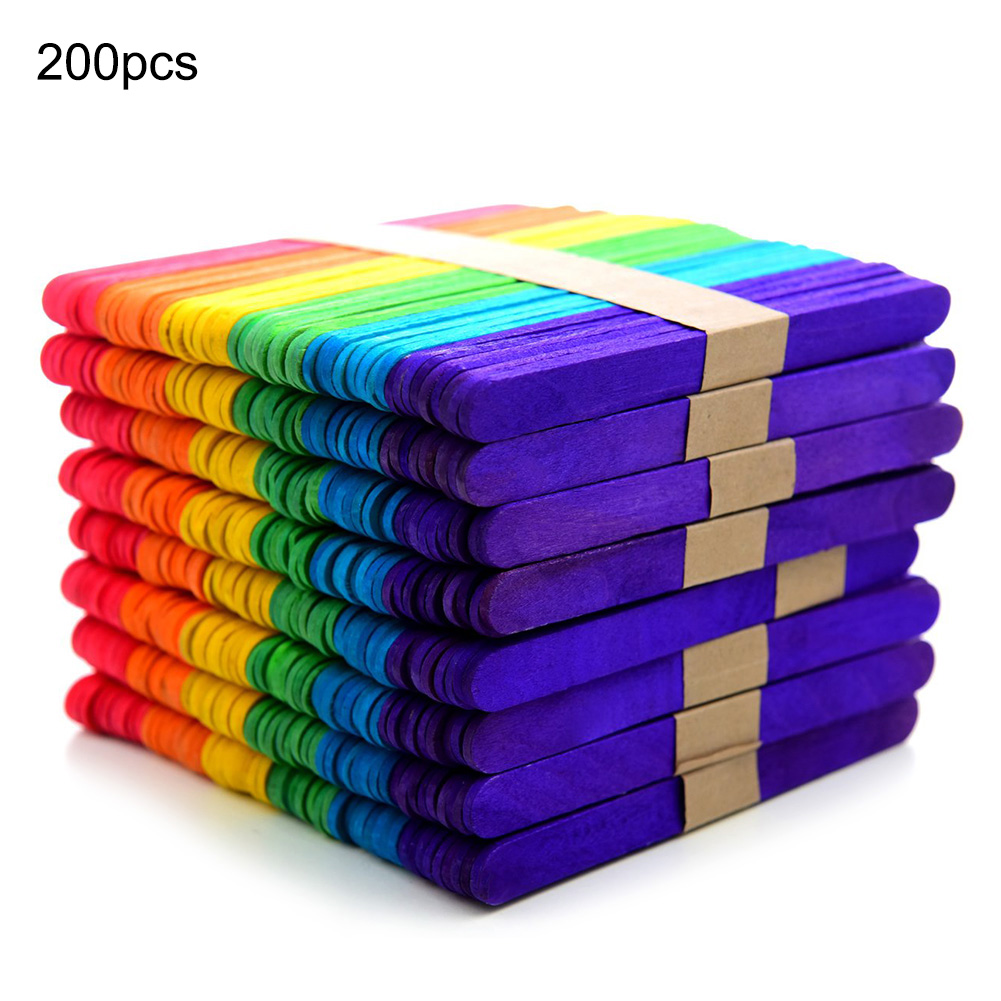200pcs Colored Wood Craft Popsicle Sticks For DIY Art Crafts Kids Hand Crafts DIY Making Funny Gift Handicraft Toy