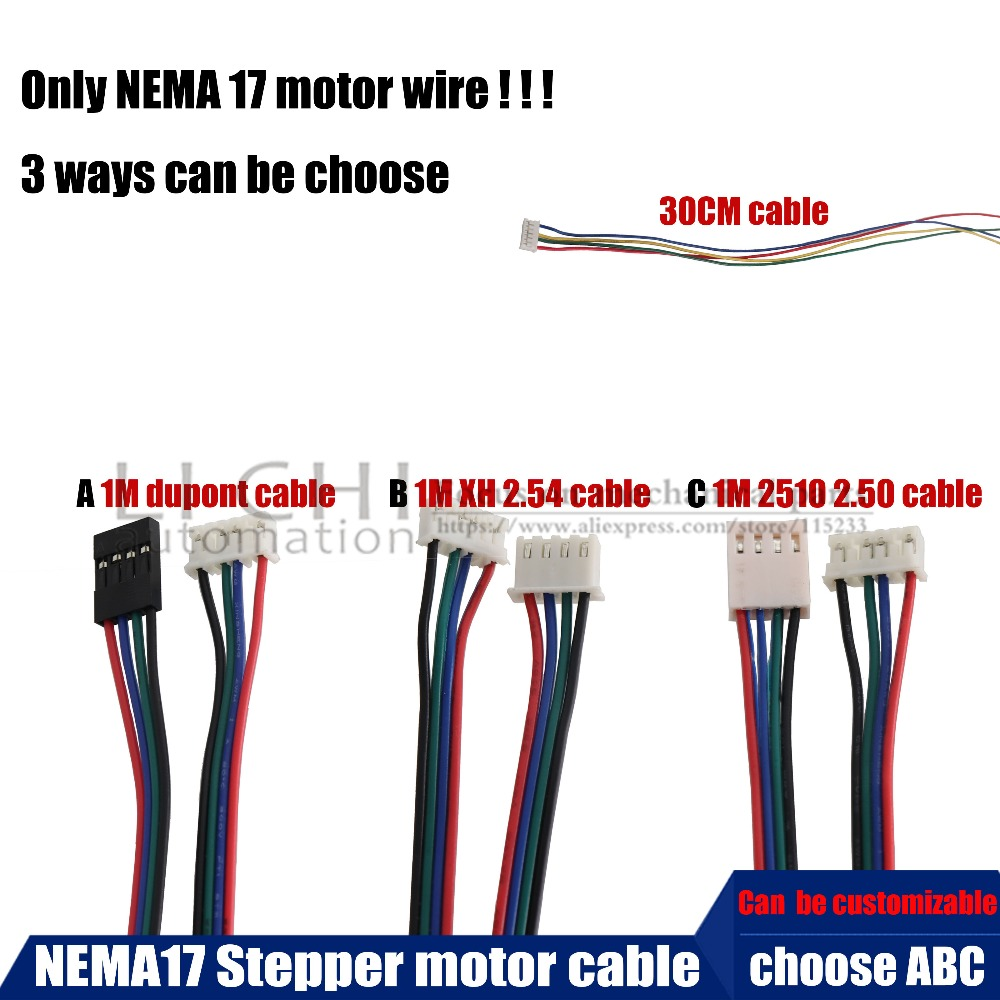 Envío Gratis 5 piezas certificación CE NEMA17 cable 17HS4401 4-plomo Nema 17 Motor paso a paso 42 motor 42 BYGH CNC láser 3D impresora