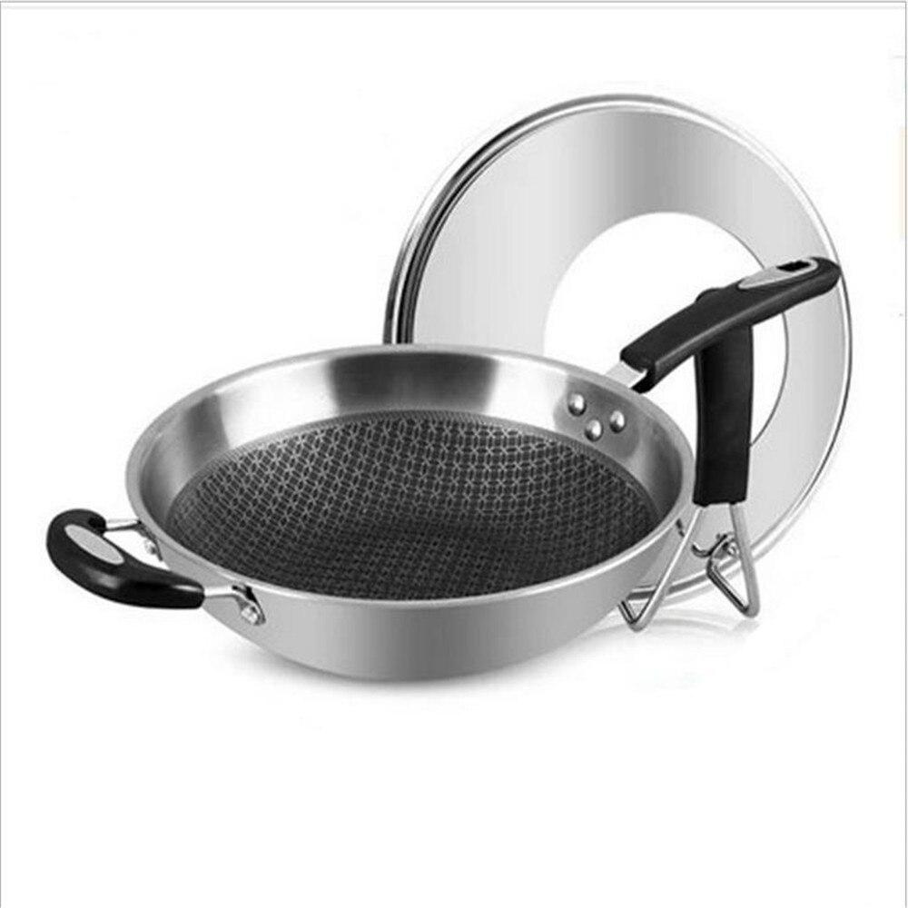 Poêle antiadhésive 34 CM en acier inoxydable avec couvercle poêle antiadhésive utilisation pour cuisinière à gaz et à Induction poêle saine casserole antiadhésive/5