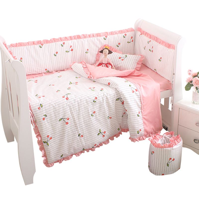 Us 32 89 15 Off Baby Girl Bedding Set Customize Cotton Newborn Crib Duvet Cover Bed Sheet Pillowcase Bumper Cherry Pattern For Kids Bed In Bedding