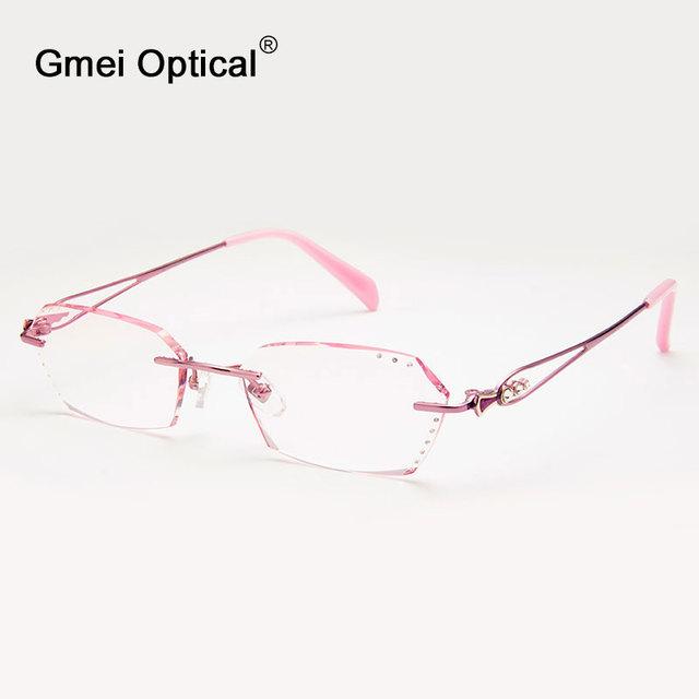Gmei Q6610 Sem Aro Óptico Óculos Moldura para Mulheres Óculos Óculos de Diamante De Corte