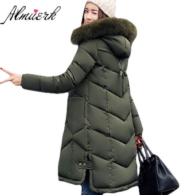 Vrouwelijke jacket hooded Grote Bontkraag Dames Jassen 2017 Winterjas Vrouwen Parka Lange Dikke Slim Womens Jassen Bovenkleding YZ189