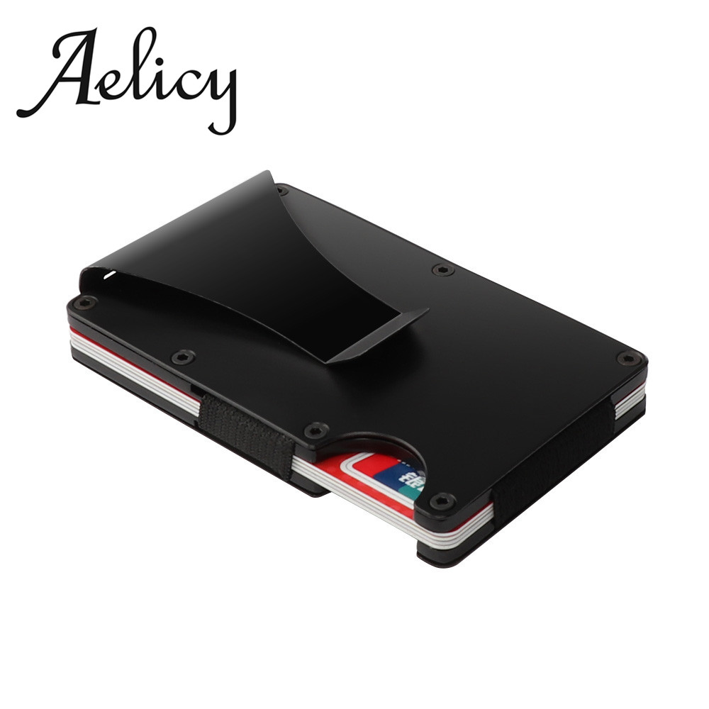 Aelicy Metal Mini Slim Wallet Detachable Money Clip Brand Fashion Business Credit Card ID Holder With Anti-chief Case Protector fashion solid pu leather credit card holder slim wallet men luxury brand design business card organizer id holder case no zipper