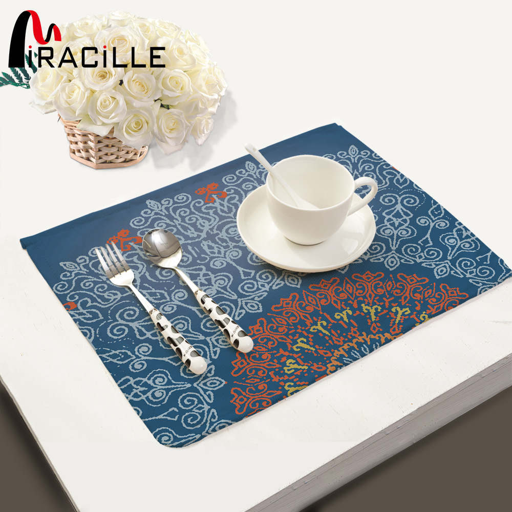 Miracille 2 4 6 pcs Placemat Mandala Geometry Mat Kitchen Accessories Drink Coaster Pad Plate almofada
