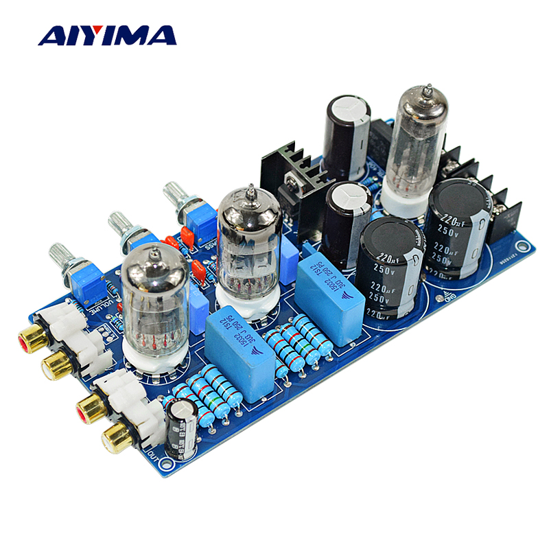 AIYIMA Home Amplifiers Audio Amplificador 6N1 Guts Tone Board Tube Amplifier Preamplificador aiyima 12v tda7297 audio amplifier board amplificador class ab stereo dual channel amplifier board 15w 15w