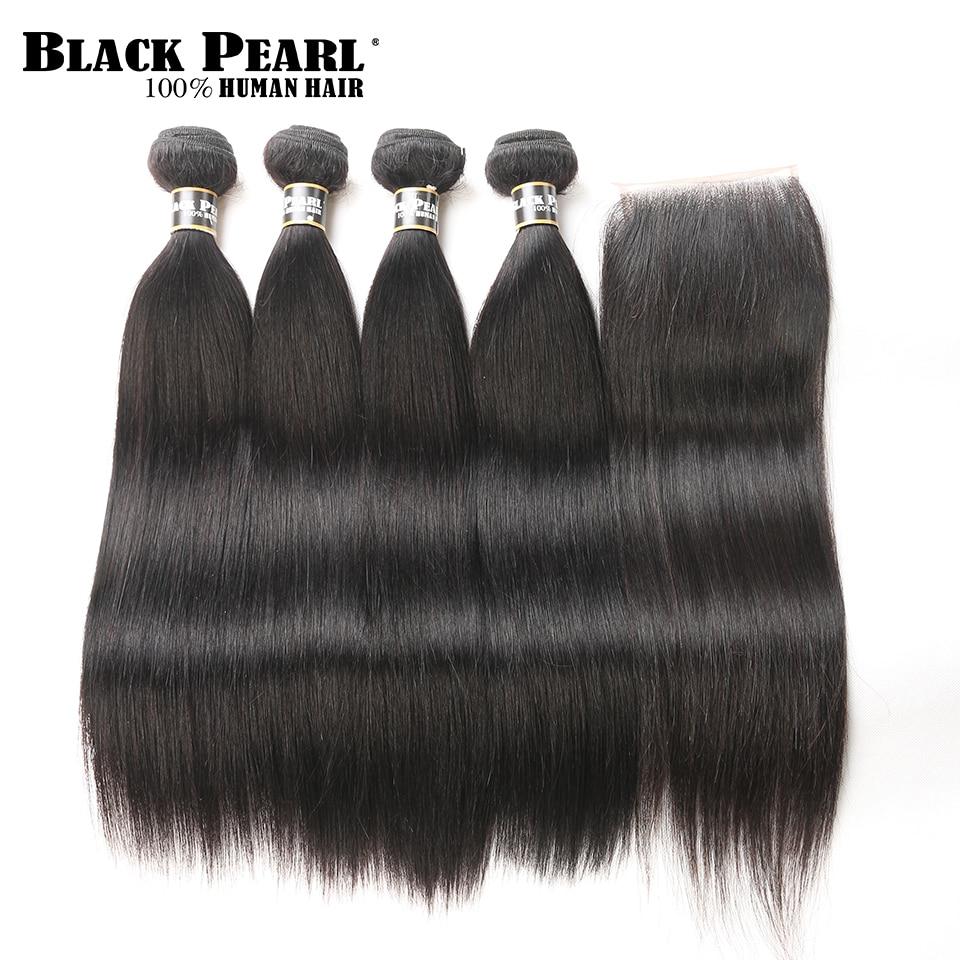 Black Pearl 4 Bundles with Closure Pre Colored Bundle Pre Colored Bundle Pack Straight Human Hair