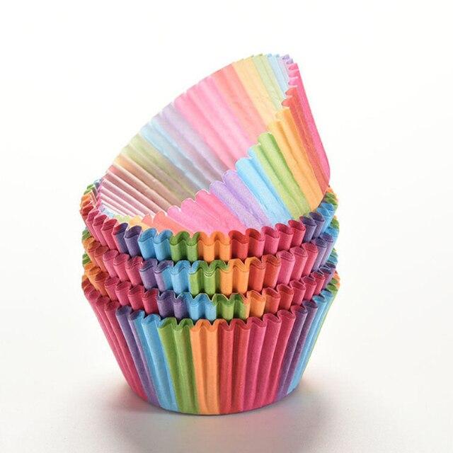 100 stücke Regenbogen Farbe Cupcake Liner Cupcake Papier Backen Tasse Muffin Fällen Kuchen Form Kleine Kuchen Box Cup Tray Dekorieren werkzeuge
