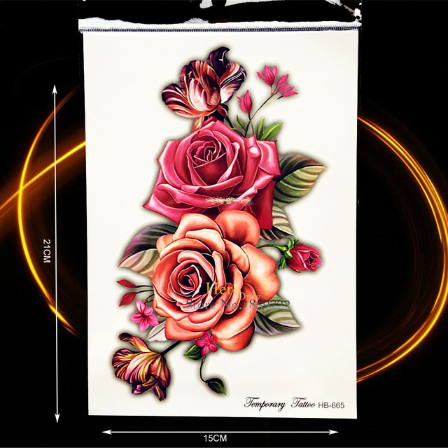 Sexy Women Body Leg Art Temporary Tattoo Rose Flower Arm Tatoo Sleeve Waterproof Back Decals Fake Shoulder Tattoo Sticker HHB665