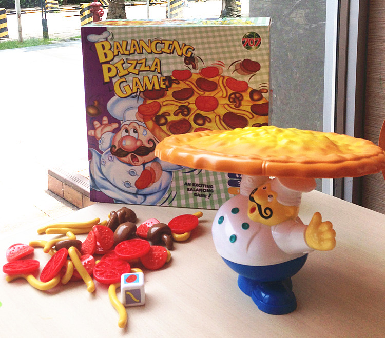Small Toy Food : Pizza balance game pile up balancing desktop toy pretend