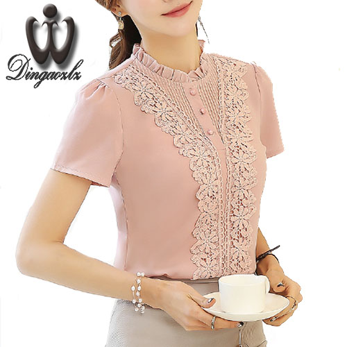 Dingaozlz 2018 Summer lace blouse New Women Clothing lace embroidery Chiffon shirt Short sleeve Female Women Tops 3XL