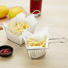 Mini French Fries Baskets Strainer French Fries Deep Frying Stainless Steel Fryer Basket Net Oil Colanders Strainer Kitchen Tool mini fry baskets french fries deep frying stainless steel fryer basket net oil colanders strainer kitchen food cooking tool
