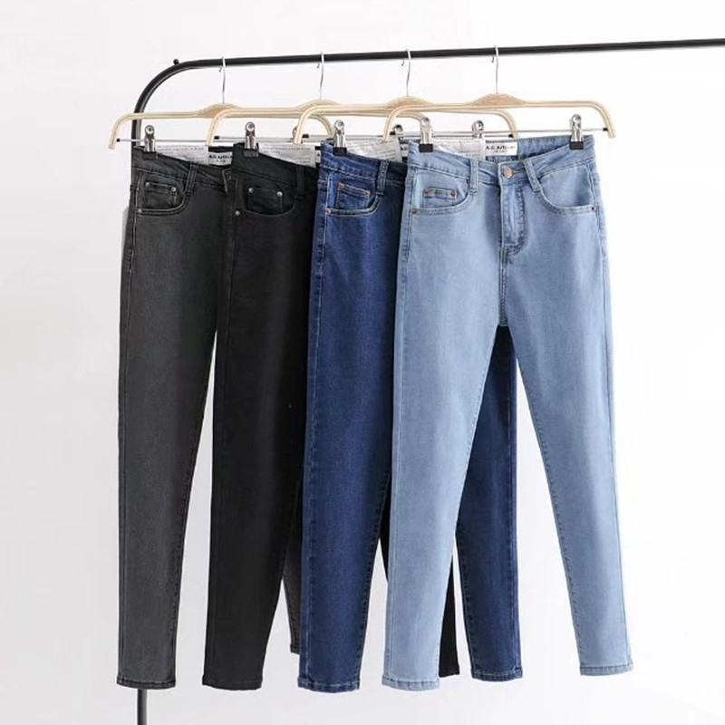 Women Slim Jeans Pencil Pnats  Vintage High Waist Female Ankle-length Pants Elastic Skinny Lady Outwear Trouser
