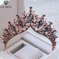 CC wedding jewelry crown tiara hairbands baroque style engagement hair accessories for bride water drop black cubic zircon XY373