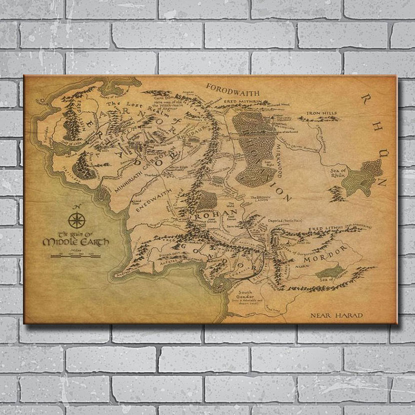 US $2.78 7% OFF|Y214 Map Of Middle Earth The Lord of the Rings 14x21 24x36  27x40 Inch Art Silk Poster Print Canvas Wall Sticker-in Wall Stickers from  ...