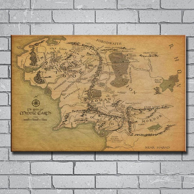Y214 Map Of Middle Earth The Lord of the Rings 14x21 24x36 27x40 ...