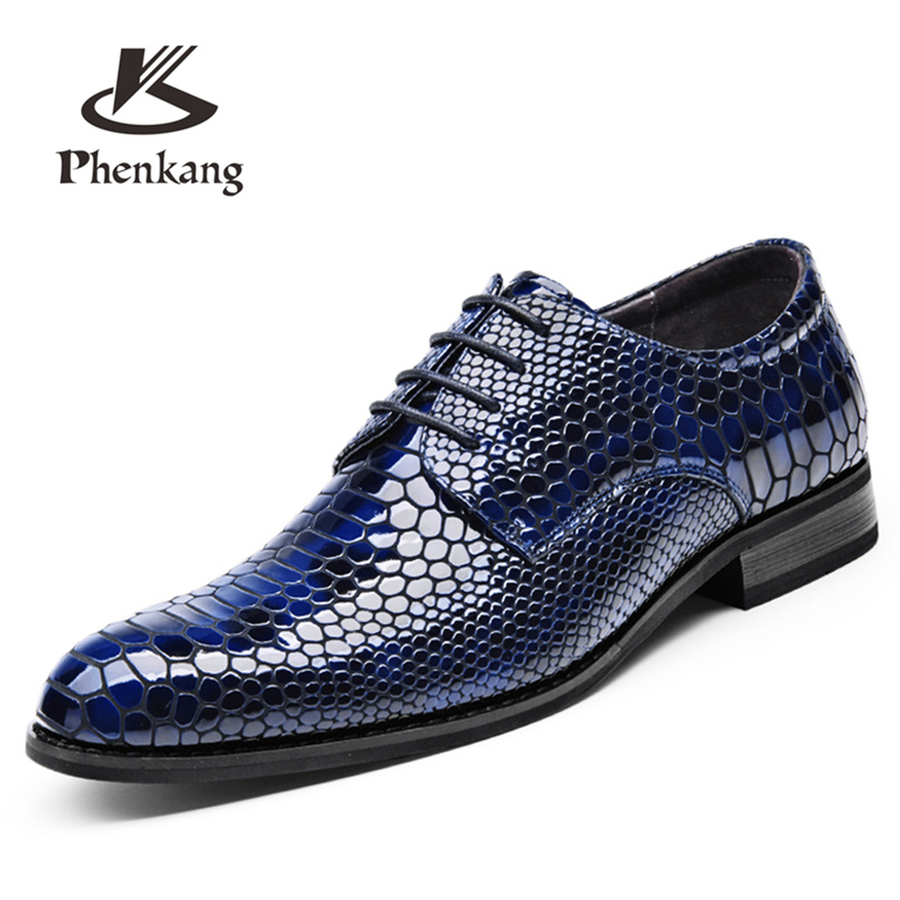Mens leather flat shoes summer bright business large size men dress wedding party leather shoes 48 CY833 Phenkang