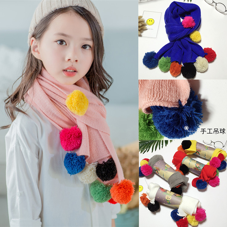 Autumn Winter Warm Children Knitted Scarf Handmade Ball Baby Neck Sleeve Candy Color Ball Scarf Kids Scarf Girl's Accessories Apparel Accessories