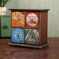 Retro Old Storage Cabinet Drawer Style Finishing Storage Box Wooden Small Cabinet Home Decorations Desktop Lockers