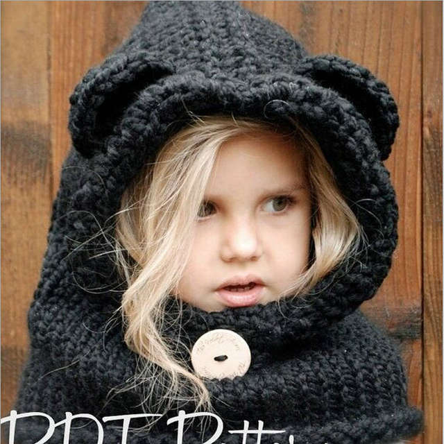 placeholder 2-8 Years Hooded Baby Scarf Knit Crochet Bear Hat Scarves Cute  Warm children Neck 8c3d073b5468