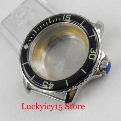 Zegarek części nadające się do ETA 2836 ruch MIYOTA 8215 psychicznego 45mm etui na zegarek z obrotowy zegarek Bezel