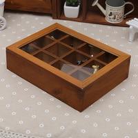 1PC Retro Tea Coffee Storege Box Europe Candy Storage Box Jewelry Makeup Cosmetic Organizer Handmade Wood Storage Boxes JL 0937