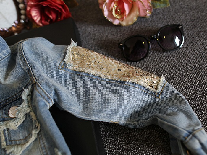 New Kids Clothes Children Girls Jackets Cool Kid Long Sleeves Turn-down Collar Buttons Coats Pocket Girl Pattern Denim Outerwear 4