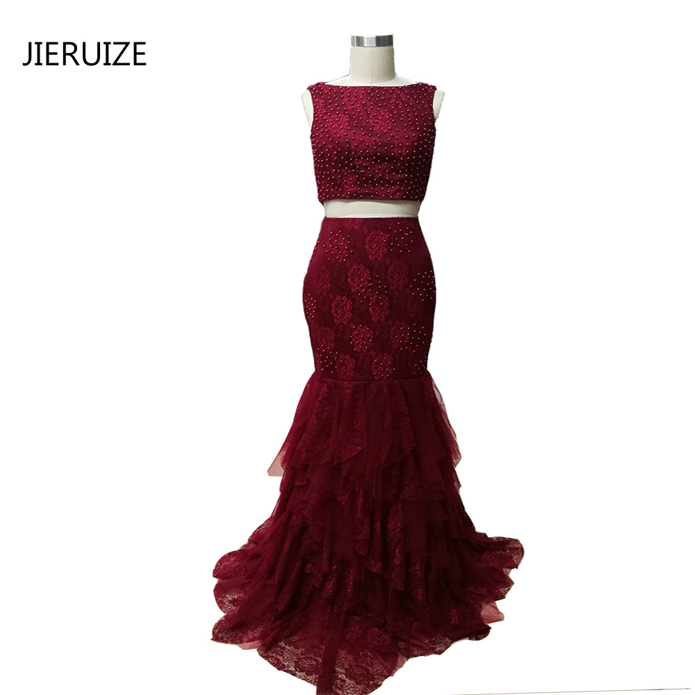 JIERUIZE Burgundy Lace Mermaid Prom Klänningar långa Tiered Two Pieces Prom Party Klänningar Pearls Aftonklänningar Abendkleider