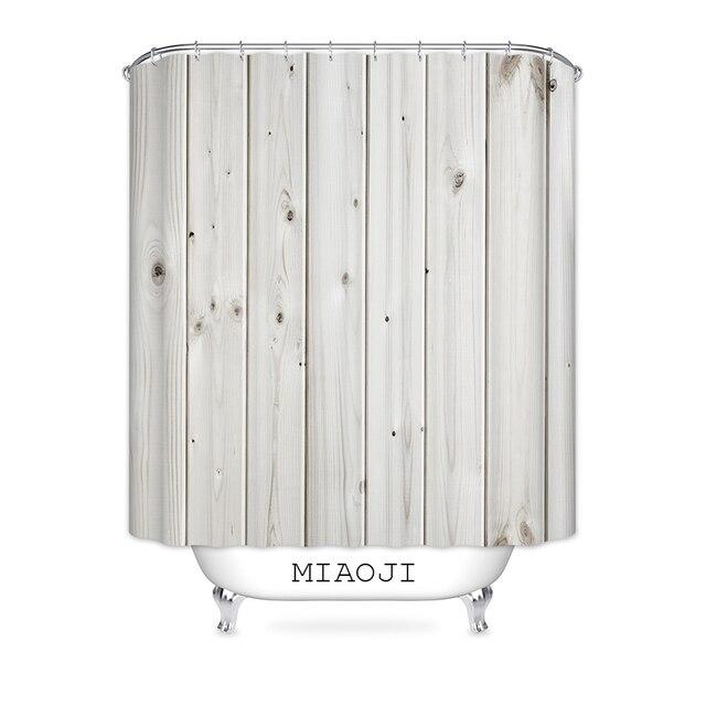MIAOJI Faux Wood Grain Shower Curtain Waterproof Polyester Fabric Bathroom Bath Screens Curtains Various