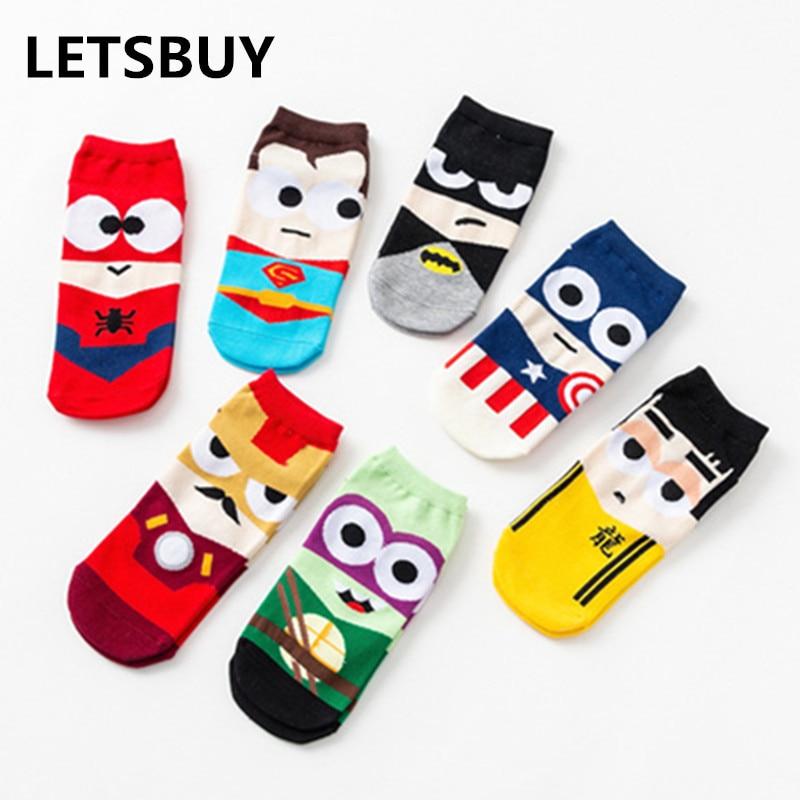 LETSBUY 7pairs=1 Lot Superheroes Superman Batman  American Cotton Sock Slippers Invisible Sock Ankle Socks