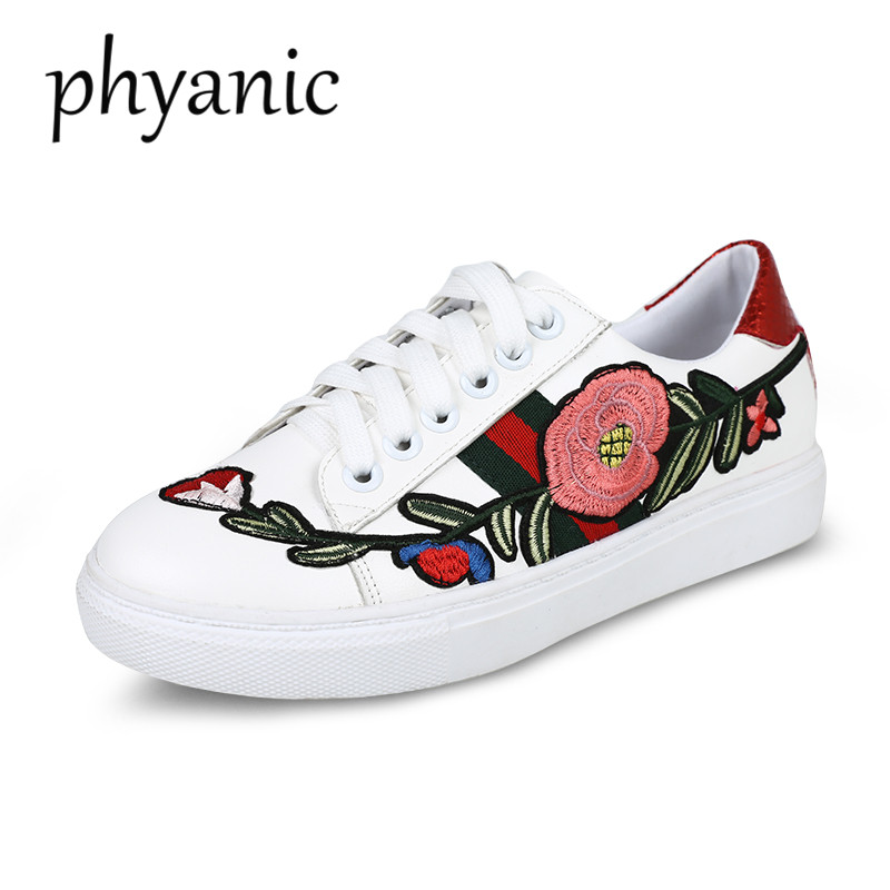 PHYANIC Women's Flat White Leather Shoes 2018 New Spring Autumn Woman Ace embroidered sneaker Lace Up Ladies Casual Flats 2017 new spring imported leather men s shoes white eather shoes breathable sneaker fashion men casual shoes