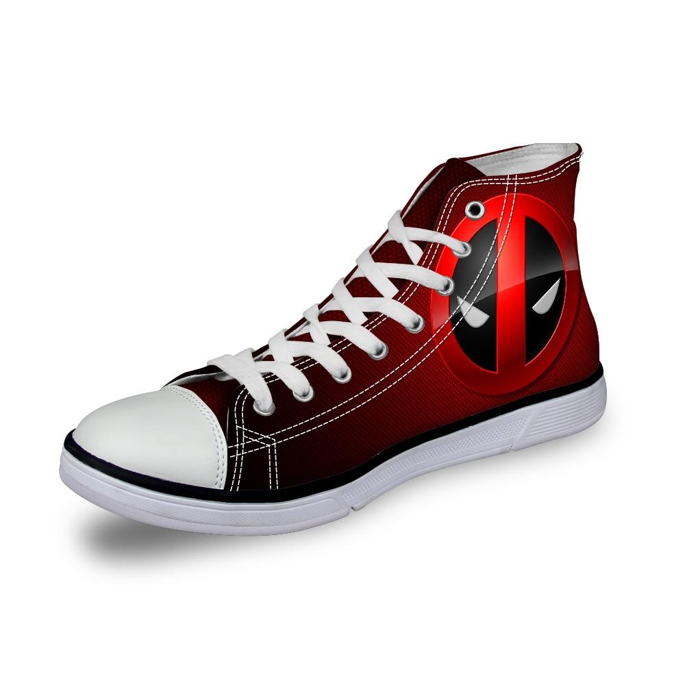 1ddb31460809 2018 Designer Women Casual Shoes High Top Superheros Deadpool Print Canvas  Shoes