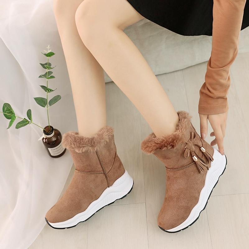 Negro Invierno Tobillo Plataforma Caliente Calzado gris Goma Mujer Botas Mujeres marrón Tacón De Nieve Zapatos Bajo 2019 Señora pwx4qZUAn