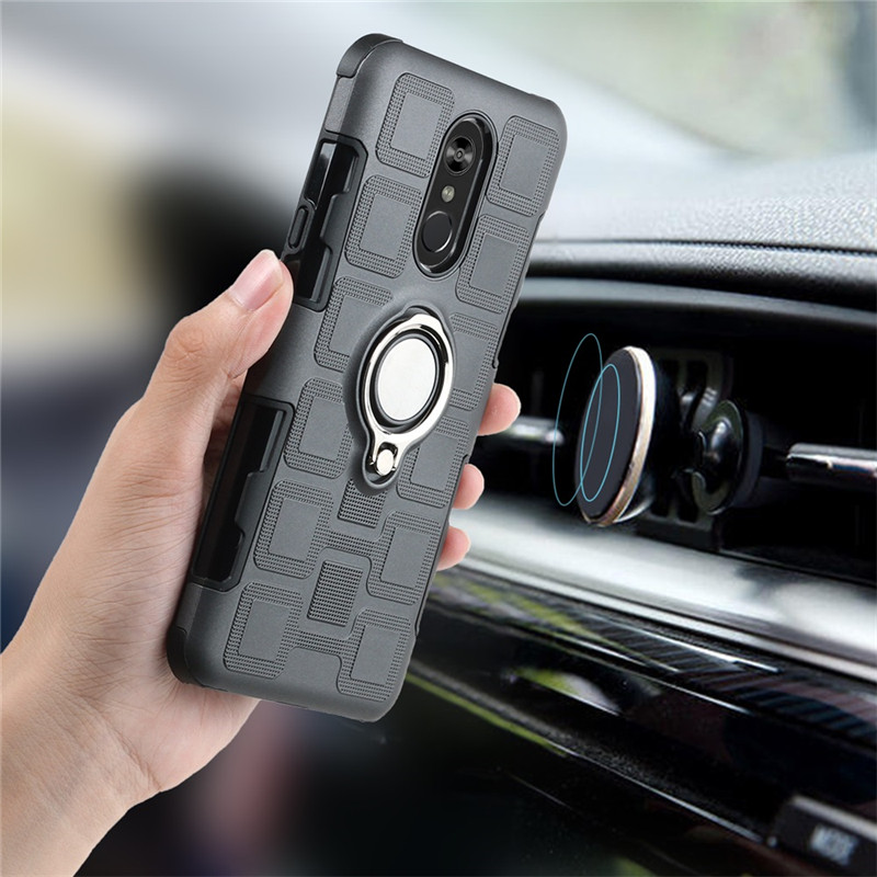 For LG Stylo 4 Q6 Q6 Plus Armor Cases Shockproof Mixed TPU PC Magnetic Car Metal