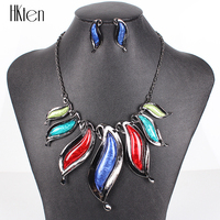 MS17780 Fashion Jewelry Sets Gunmetal Plated Leaf Design Blue Necklace Bridal Jewelry 2014 New High Quality