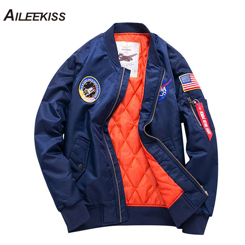 AILEEKISS 2019 Quality Fashion Thick Army Green Military Motorcycle Aviator Pilot Air Men Bomber Jacket Slim Fit Warm Coat XT734