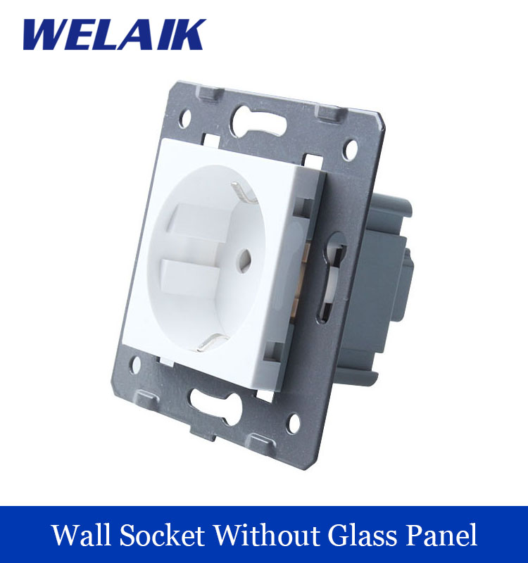 WELAIK EU Standard Power Socket DIY Parts  White Wall  Socket parts Without Glass Panel A8E eu committees