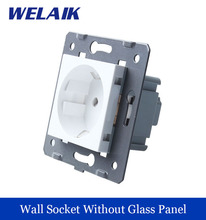 WELAIK EU Standard Power Socket DIY Parts  White Wall  Socket parts Without Glass Panel A8E