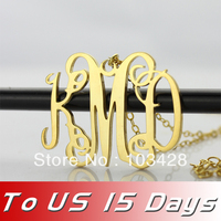 New Personalized Sterling Silver Jewelry Monogram Necklace 18k Plated Gold Initial Name Necklace 1 25 Delivery