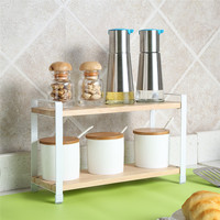 High Quality Solid Wooden Racks Seasoning Bottle Rack Cabinet Shelf With Two Layers Household Bathroom Organizer